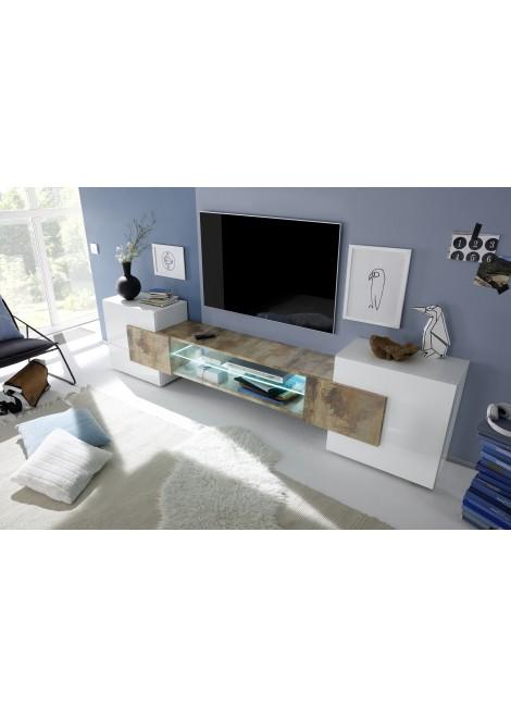 Meuble blanc et bois tv