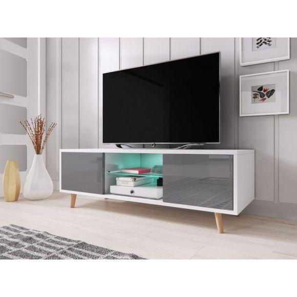 Meuble tv 140 cm blanc et gris