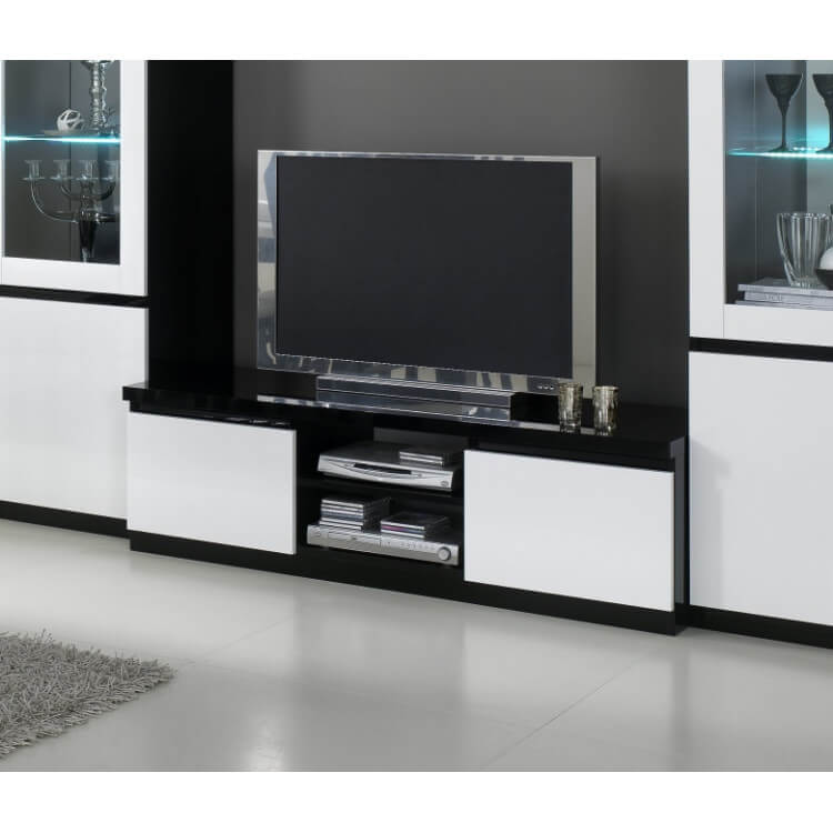Meuble tv laqué blanc noir
