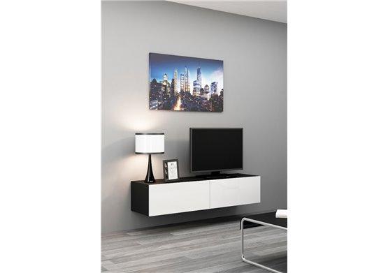 Meuble tv suspendu noir 100 cm