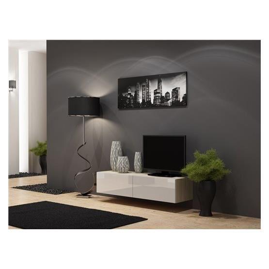 Meuble tv suspendu bois 100 cm