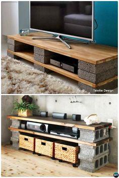 Meuble tv bois et parpaing