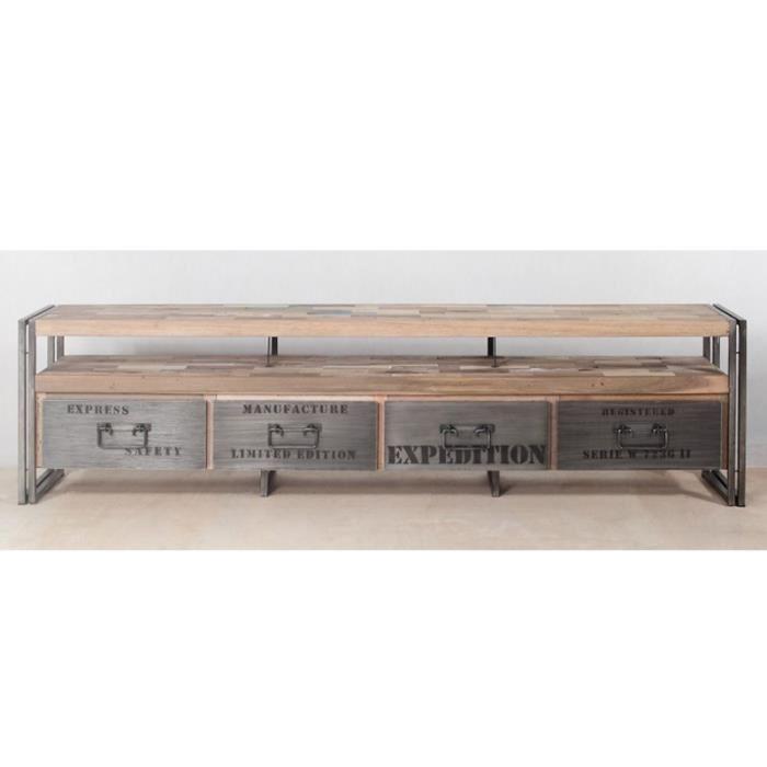 Meuble tv bois recycle industriel