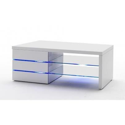 Meuble tv 3 tiroirs blanc laque