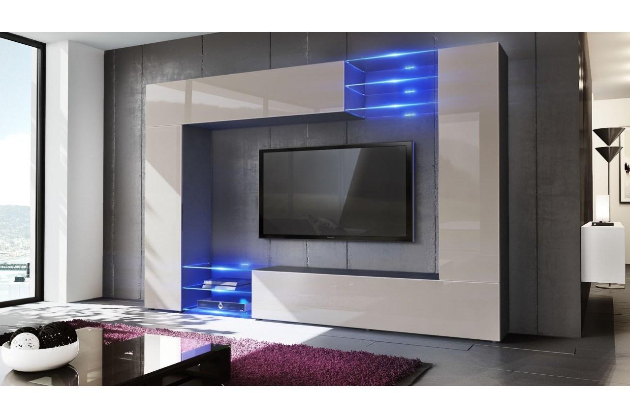 Flash meuble tv contemporain avec led laqué blanc brillant - l 165 cm