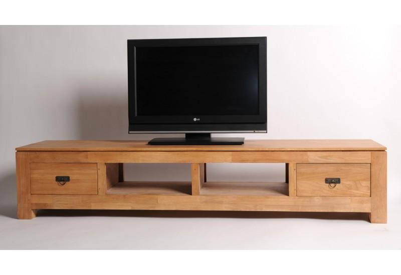 Meuble tv bas bois exotique