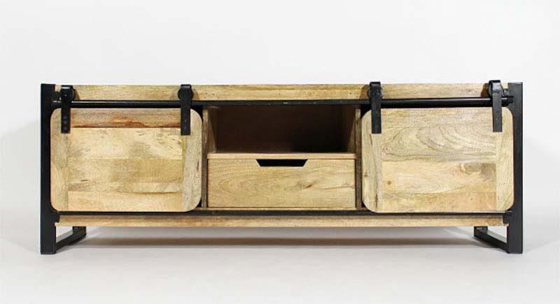 Meuble tv indus en métal et bois massif noir - long island