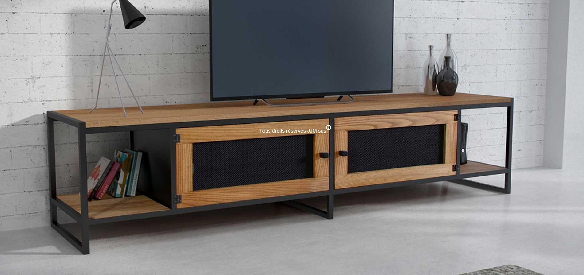 Meuble tv bois massif acier