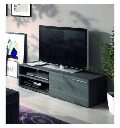 Kikua meuble tv contemporain mélaminé gris cendré - l 130 cm