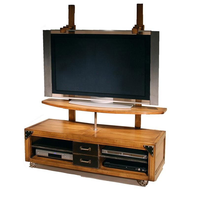 Meuble tv en bois a roulettes