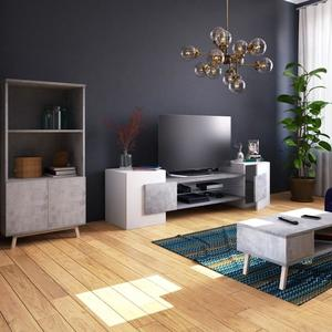 Meuble tv hifi design bois 3 étagères en verre galway