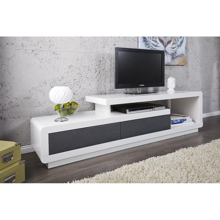 Cdiscount meuble tv gris laque