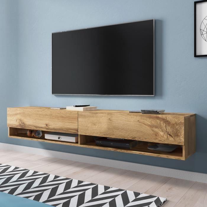 Meuble tv au style industriel klaus en chêne vintage