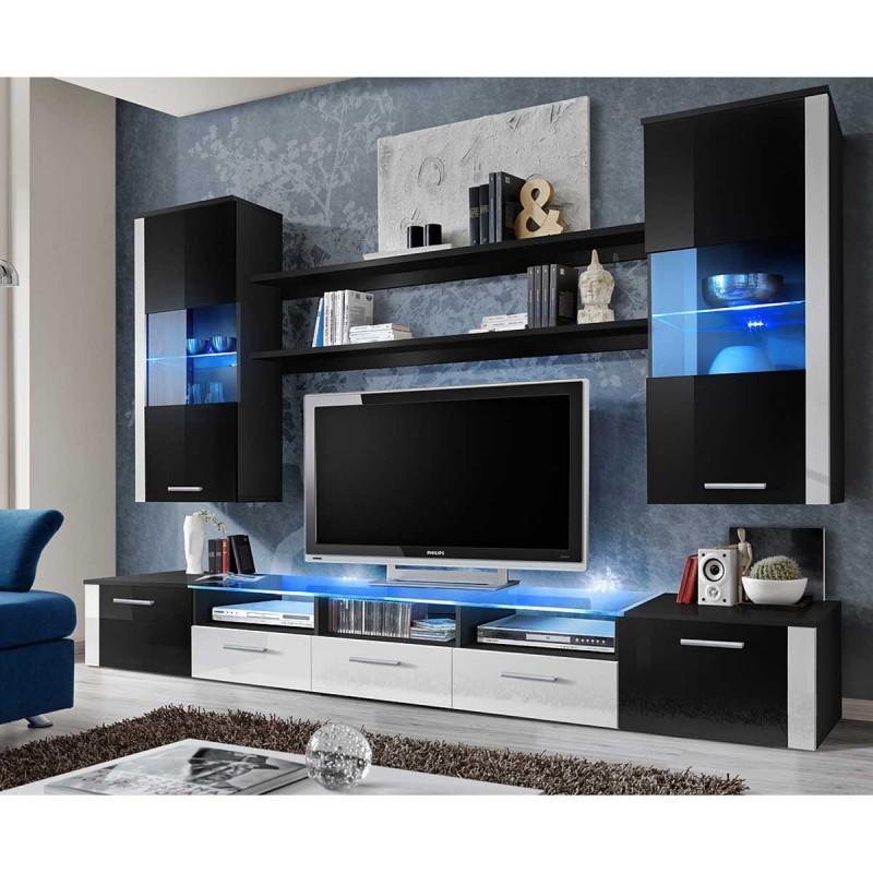 Meuble tv bois et osier