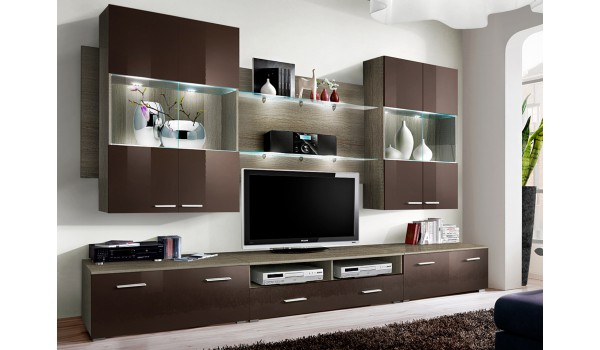 Meuble tv salon marron