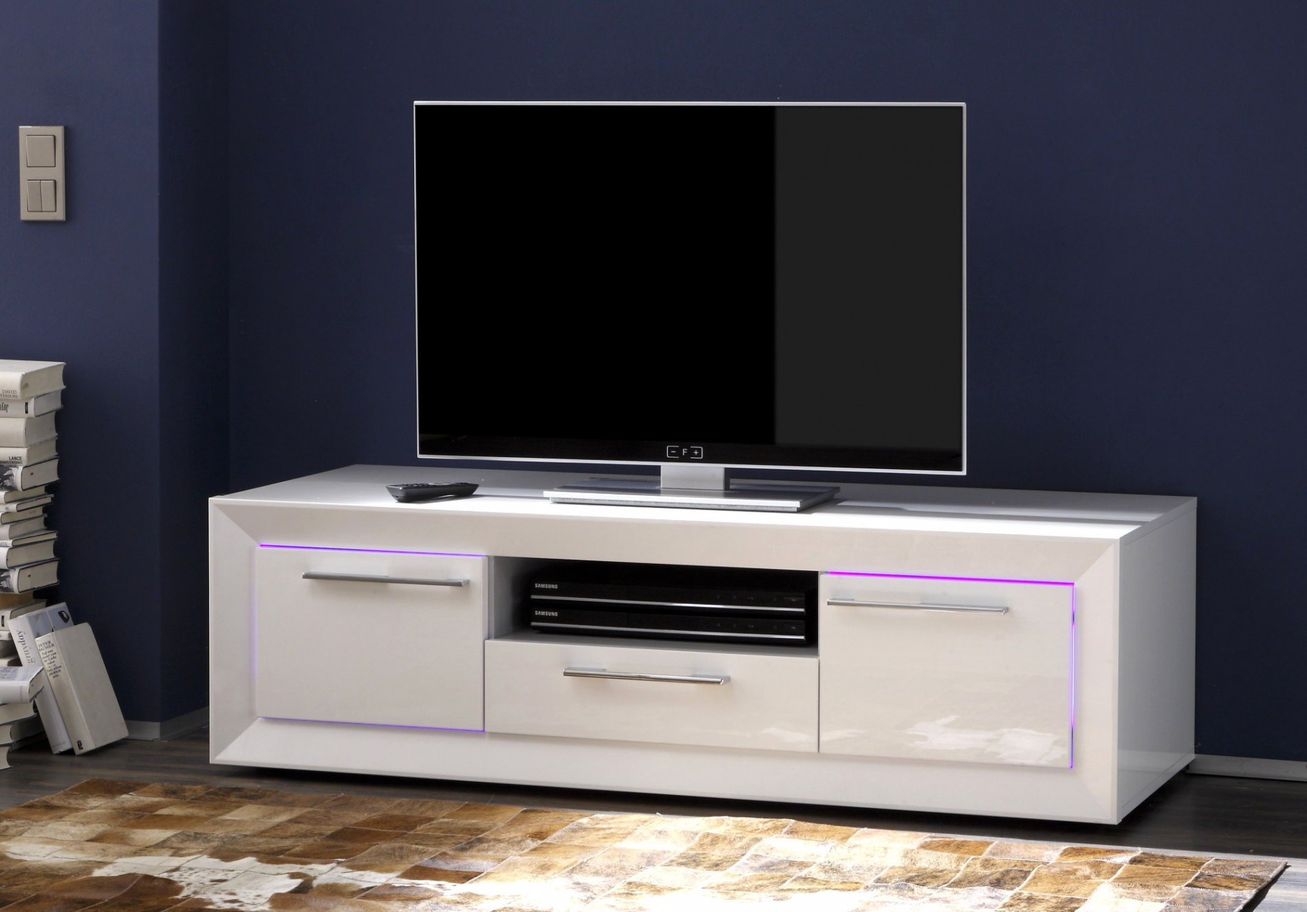 Meuble tv en coin blanc