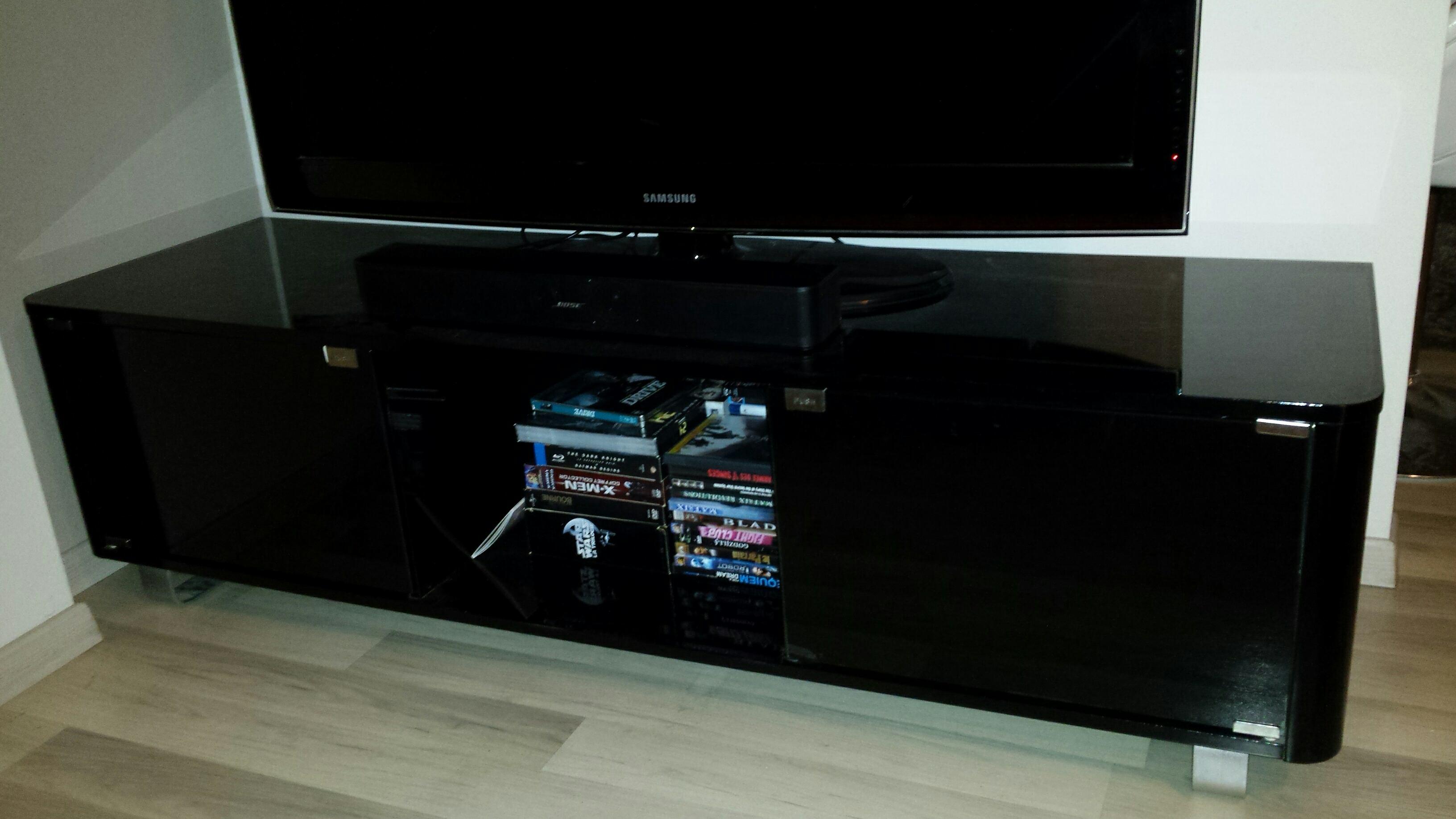 Meuble tv laqué noir conforama