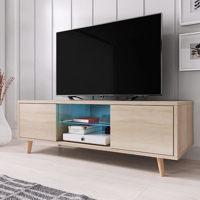Meuble tv bleu scandinave