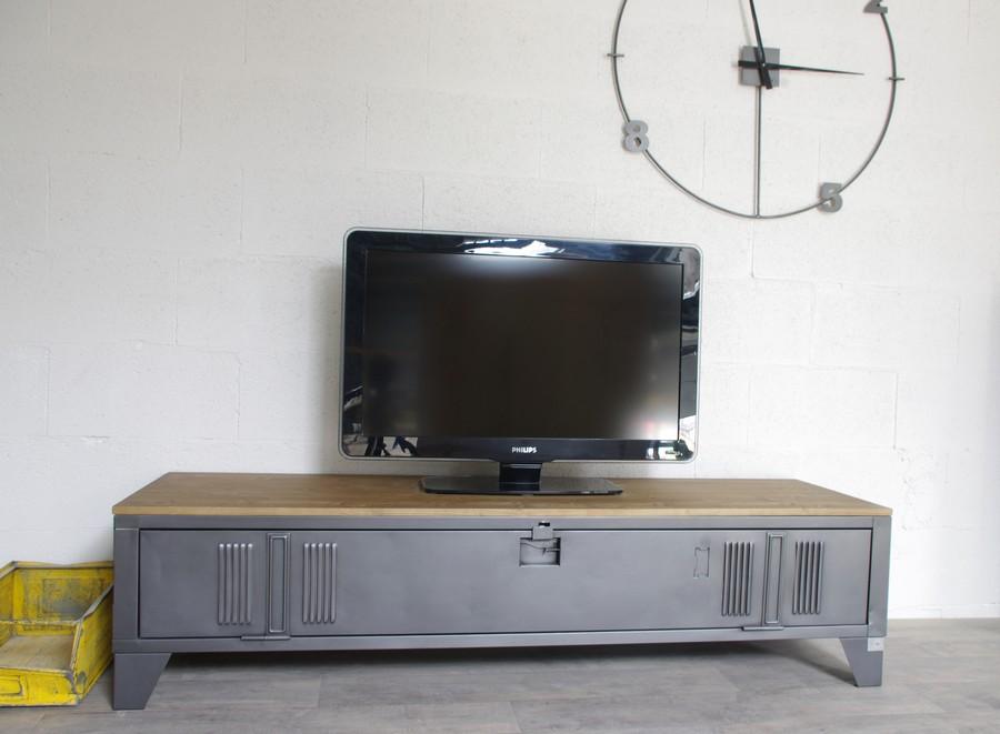 Meuble tv casier metal et bois