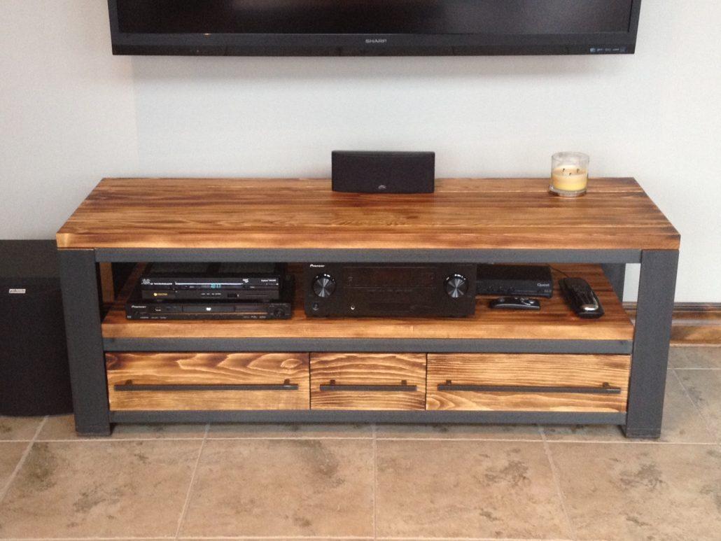 Meuble tv en bois massif brut