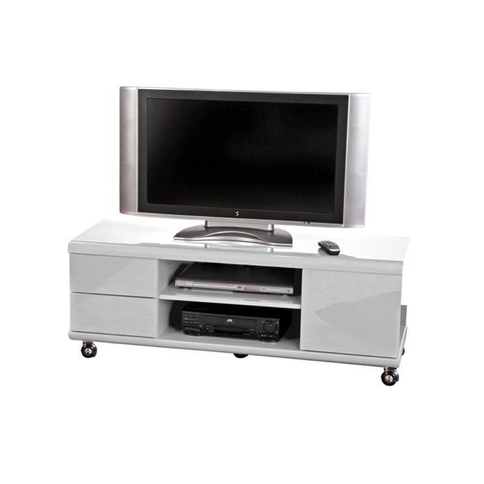 Meuble tv gris à roulettes