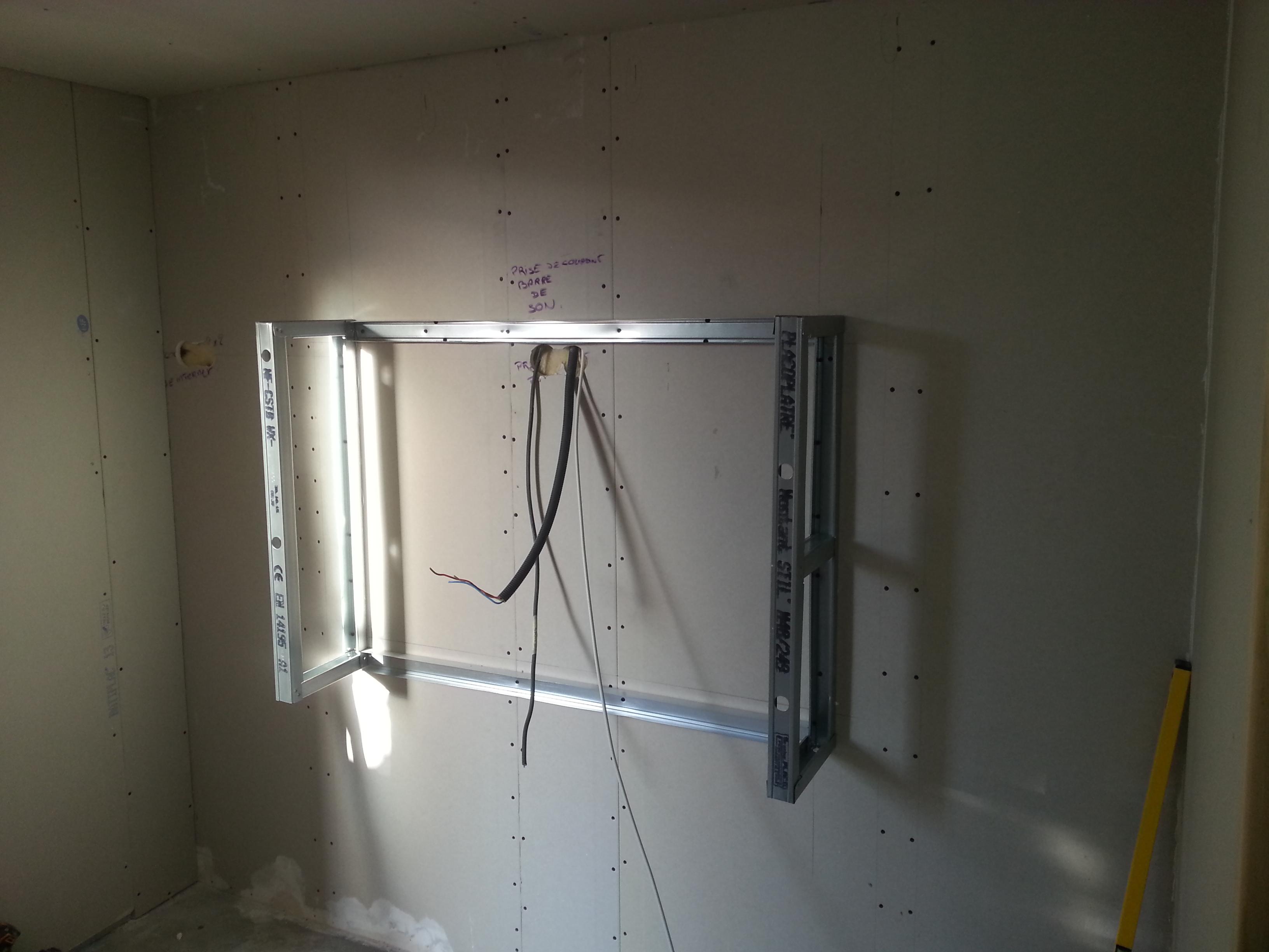 Fabrication meuble tv placo