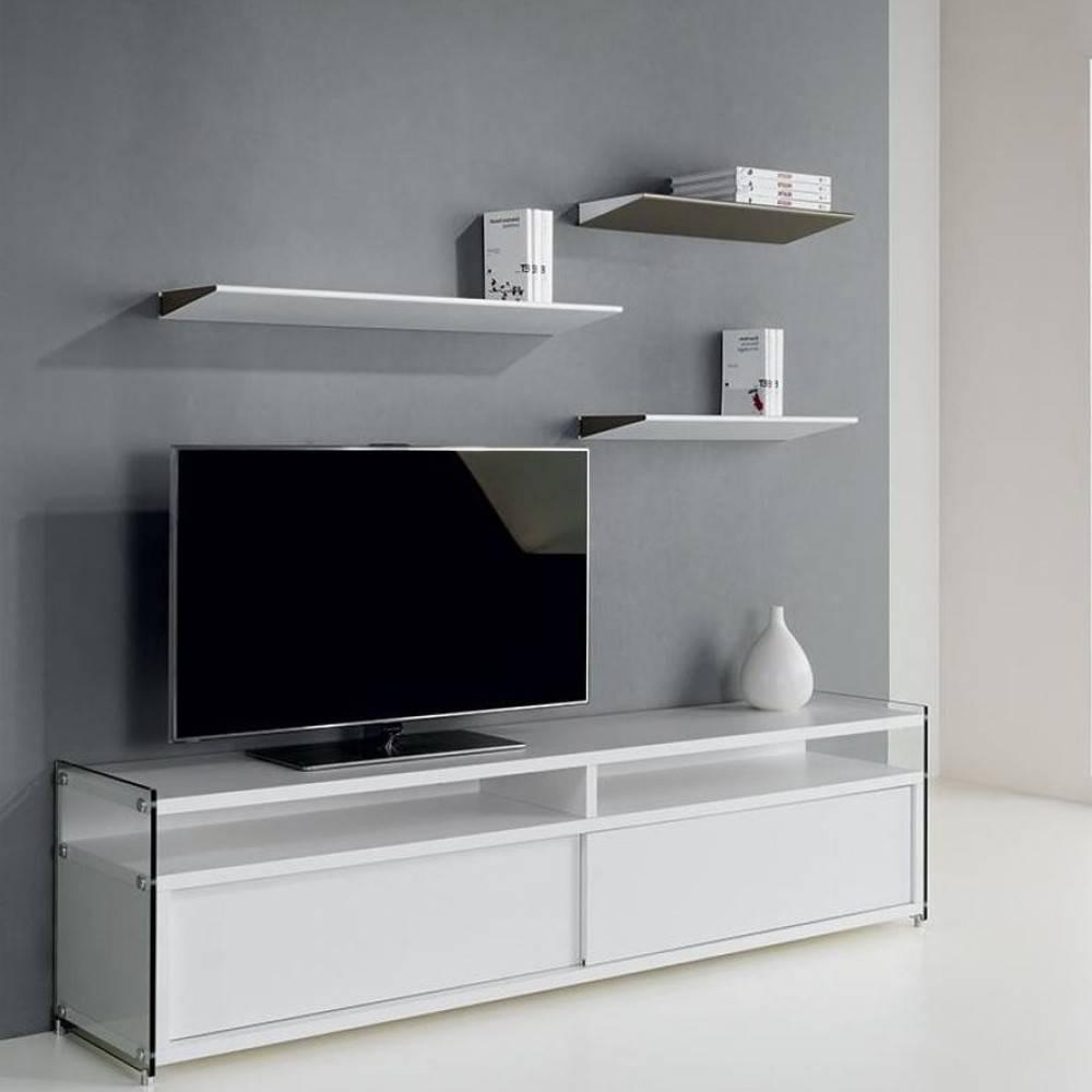 Meuble tv portes verre