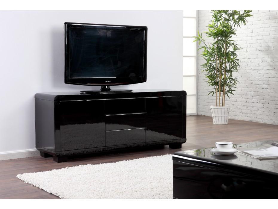 Meuble tv artaban - 2 tiroirs - mdf laqué - noir