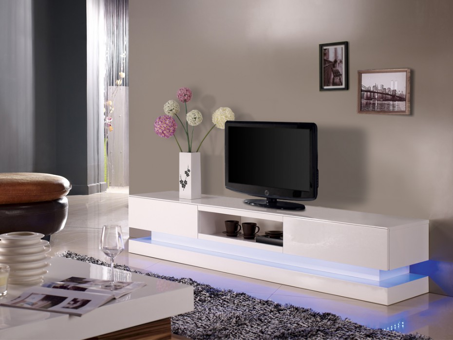 Meuble tv laqué ivoire