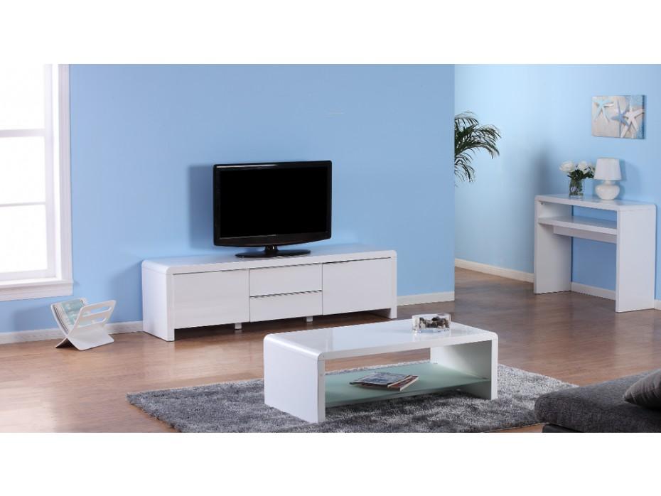 Table basse et meuble tv blanc laqué