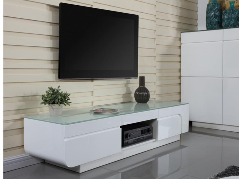 Meuble tv avec plateau en verre