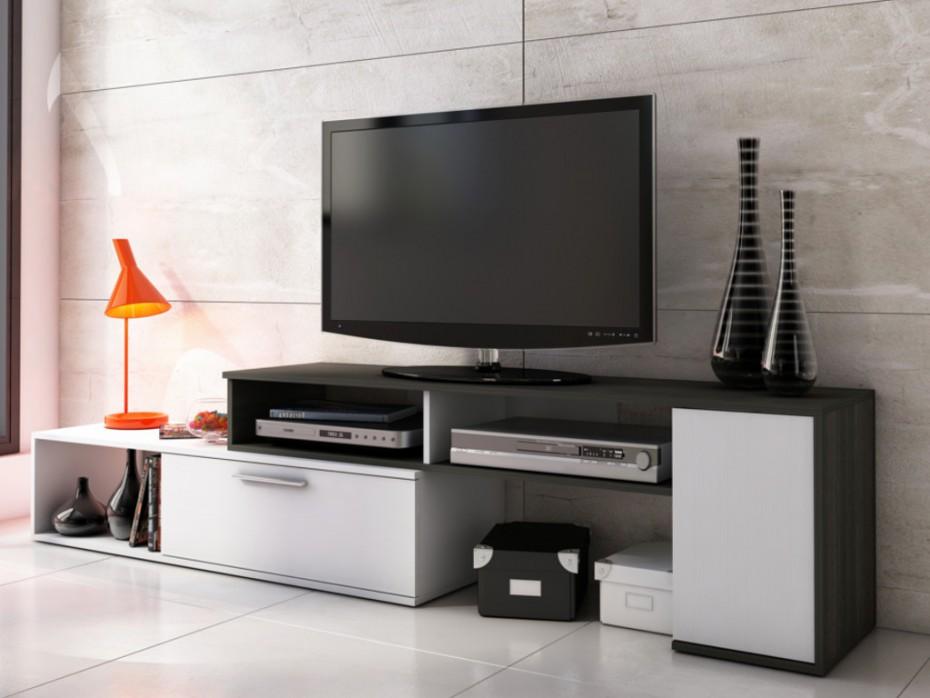 Meuble tv blanc laqué extensible