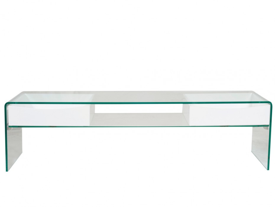 Meuble tv blanc verre tiroir