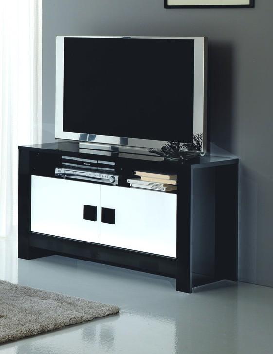 Meuble tv d'angle noir pas cher