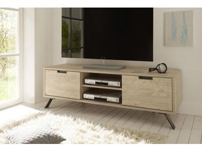 Meuble tv bois blanc/chêne brossé