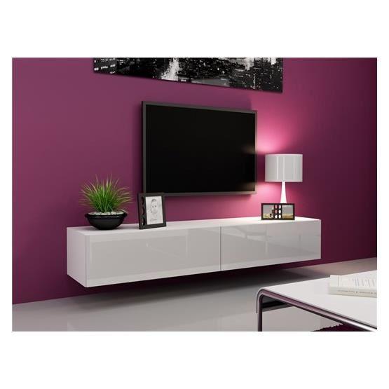 Meuble tv suspendu blanc laqué pas cher