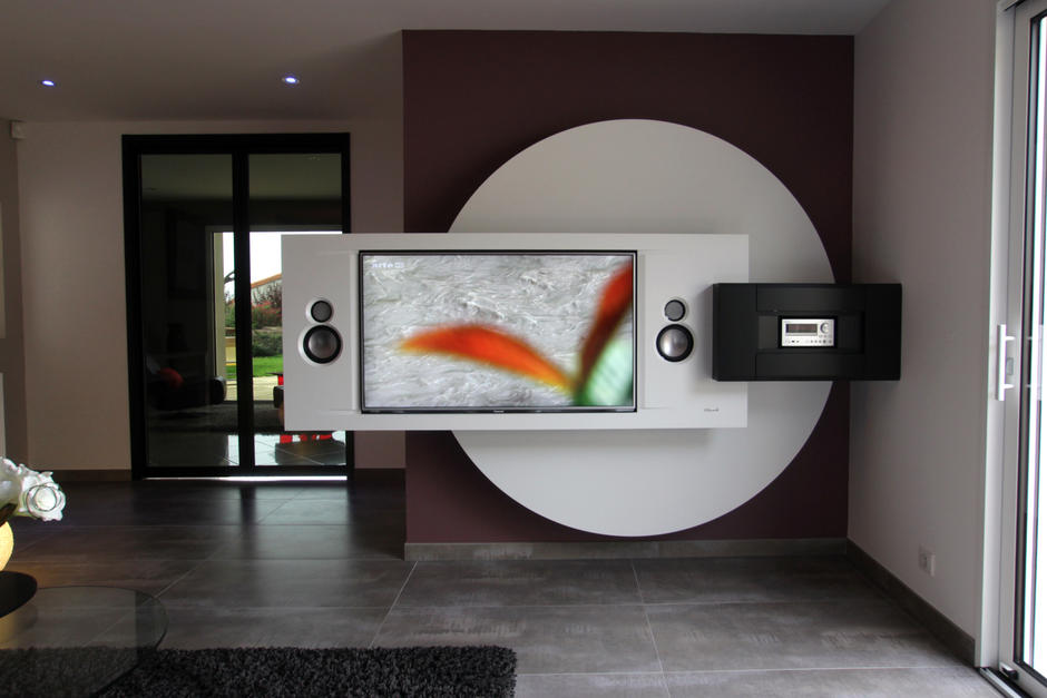 Meuble tv pour mur arrondi