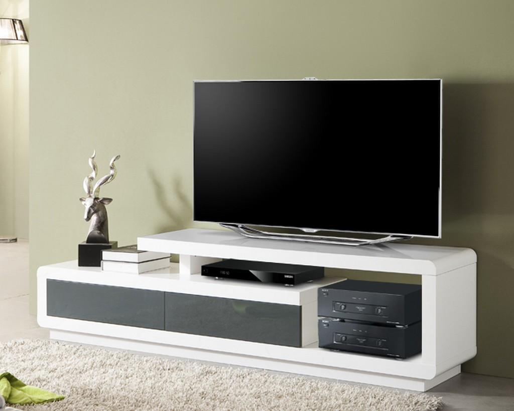 Meuble tv bois blanc haut