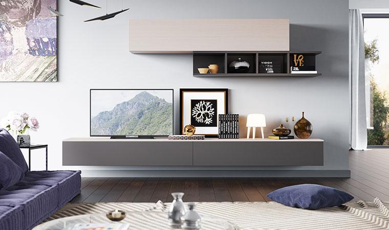 Meuble tv laqué gris taupe