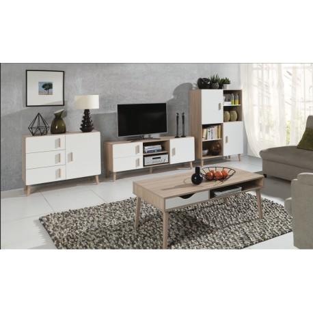 Ensemble meuble tv table basse blanc et gris