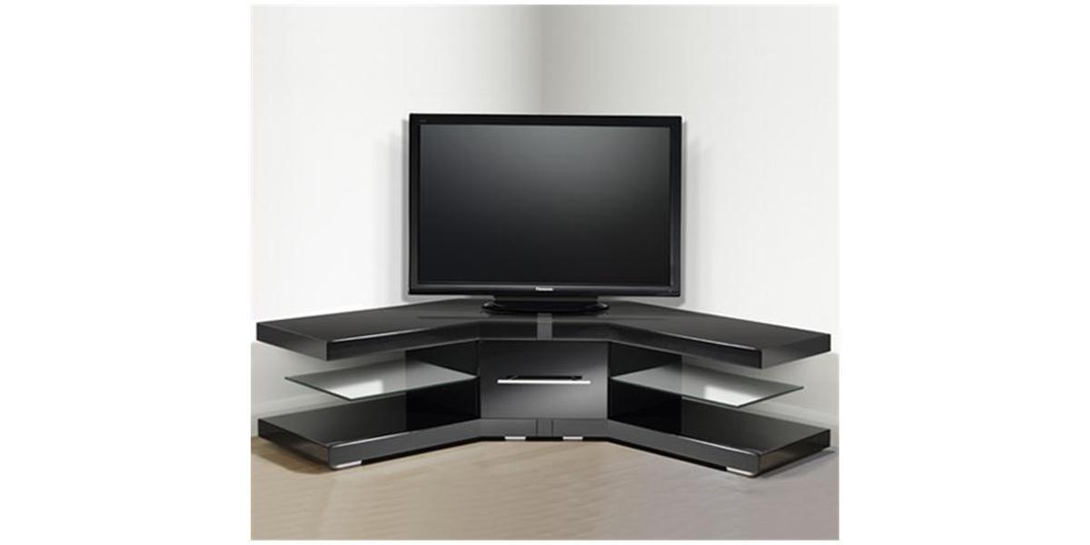 Meuble tv angle verre noir