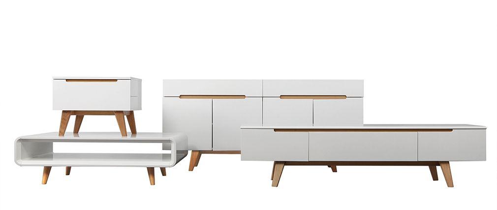Petit meuble tv scandinave blanc